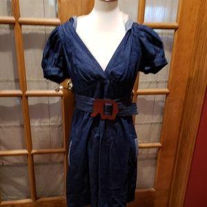 Voom Denim Dress w/ Elephant belt and Hood size L